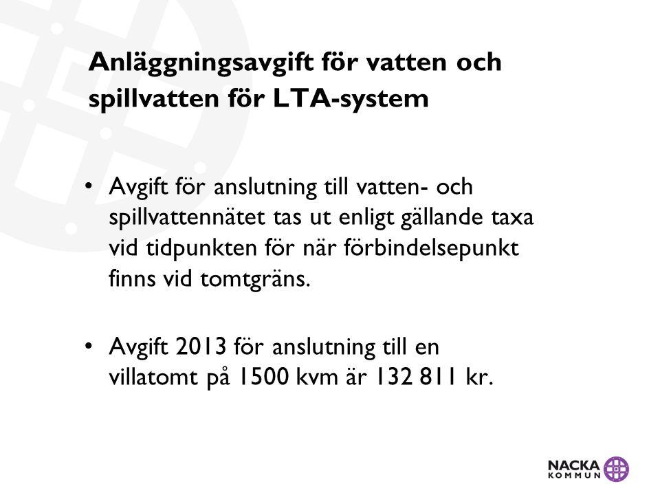 Anläggningsavgift för vatten och spillvatten för LTA-system