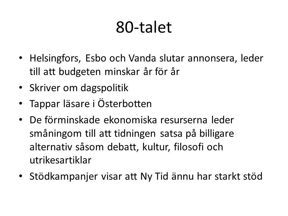 80-talet Helsingfors, Esbo och Vanda slutar annonsera, leder till att budgeten minskar år för år. Skriver om dagspolitik.