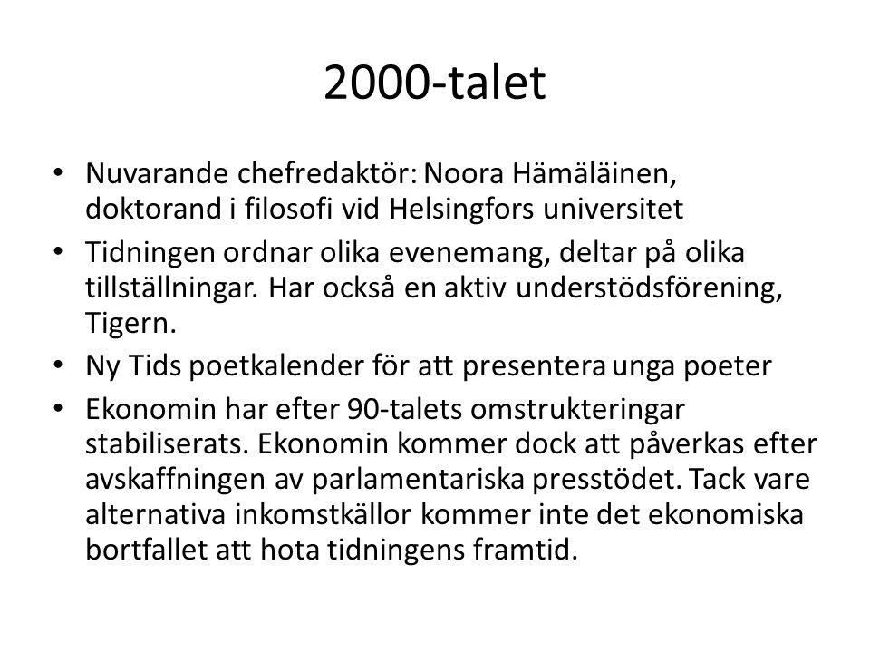 2000-talet Nuvarande chefredaktör: Noora Hämäläinen, doktorand i filosofi vid Helsingfors universitet.