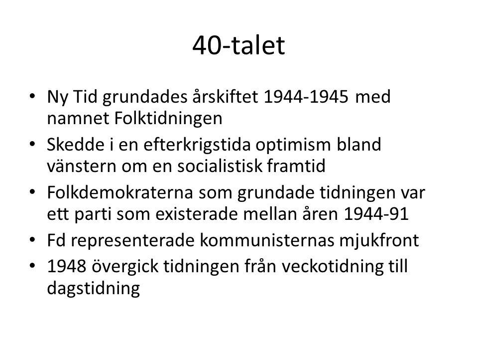 40-talet Ny Tid grundades årskiftet 1944-1945 med namnet Folktidningen