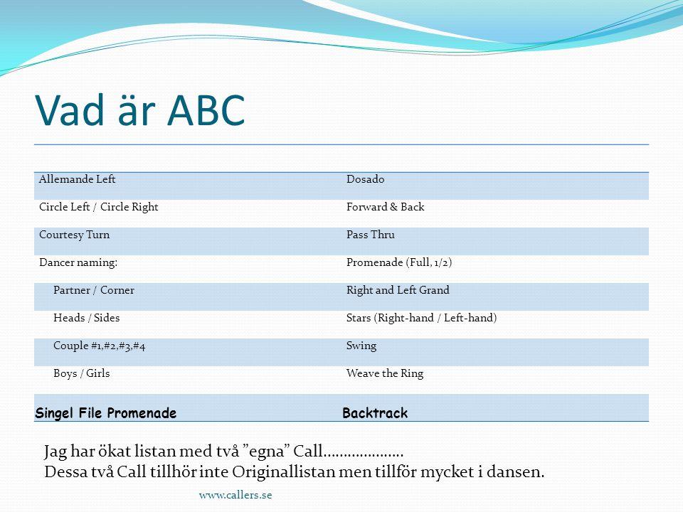 Vad är ABC Jag har ökat listan med två egna Call………………..