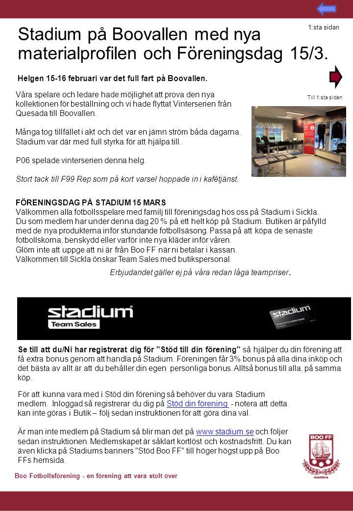 Stadium på Boovallen med nya materialprofilen och Föreningsdag 15/3.