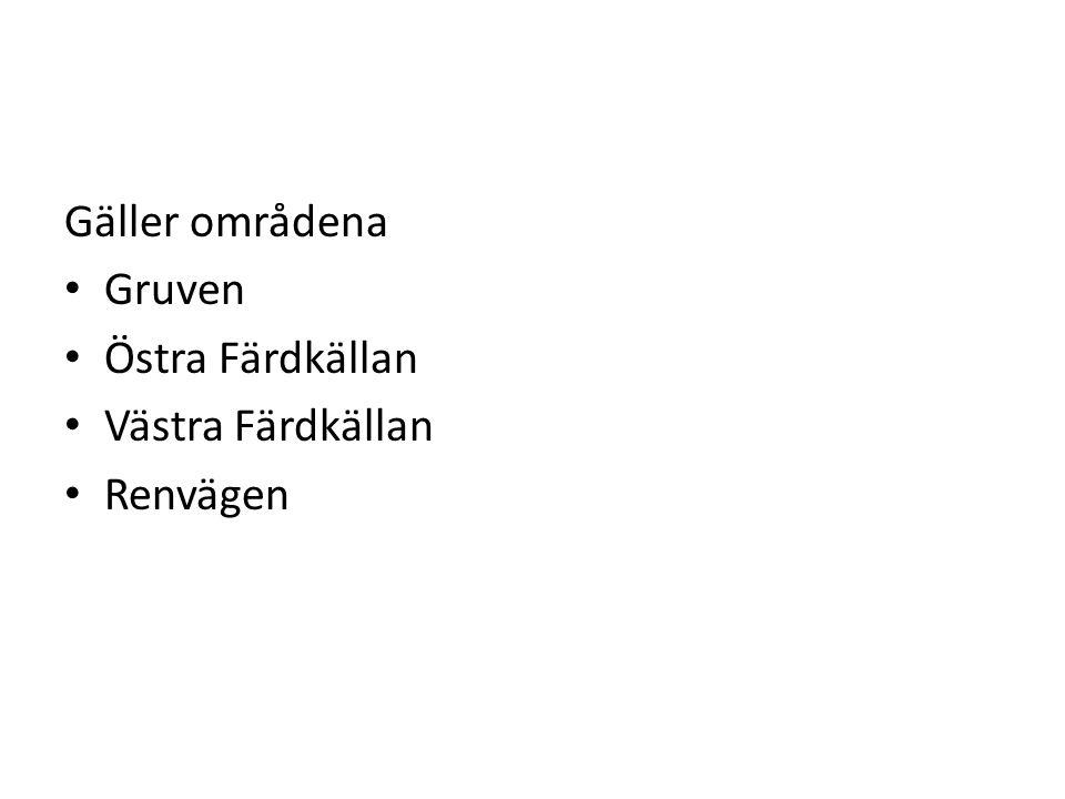 Gäller områdena Gruven Östra Färdkällan Västra Färdkällan Renvägen
