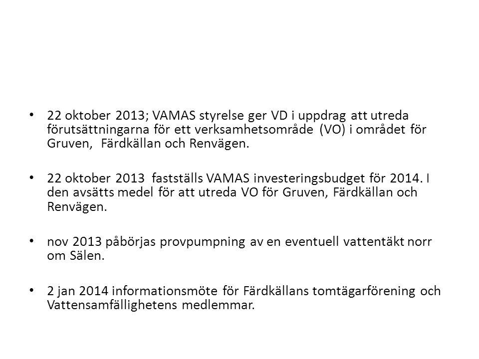 22 oktober 2013; VAMAS styrelse ger VD i uppdrag att utreda förutsättningarna för ett verksamhetsområde (VO) i området för Gruven, Färdkällan och Renvägen.
