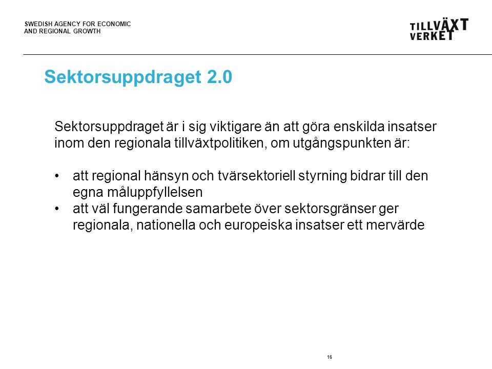 Sektorsuppdraget 2.0 Sektorsuppdraget är i sig viktigare än att göra enskilda insatser inom den regionala tillväxtpolitiken, om utgångspunkten är: