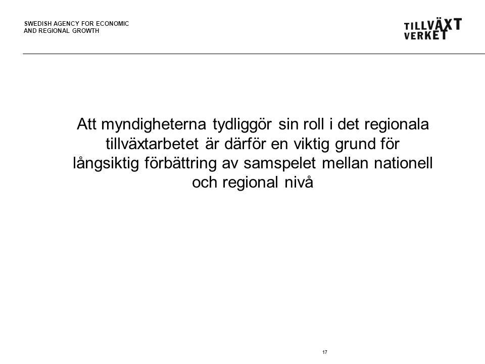 Att myndigheterna tydliggör sin roll i det regionala tillväxtarbetet är därför en viktig grund för långsiktig förbättring av samspelet mellan nationell och regional nivå