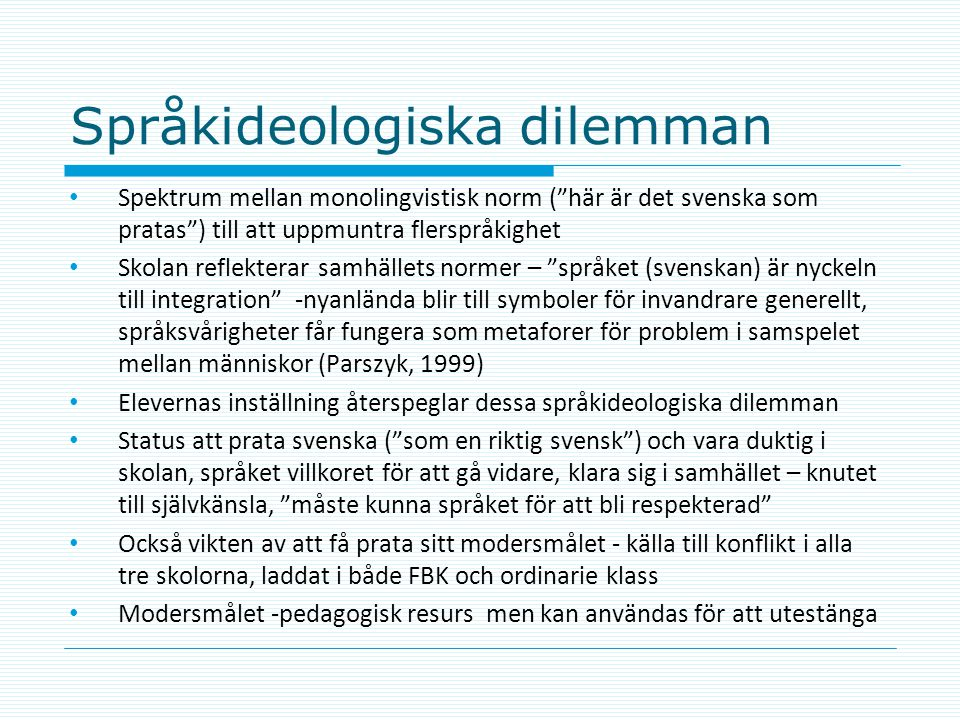 Språkideologiska dilemman