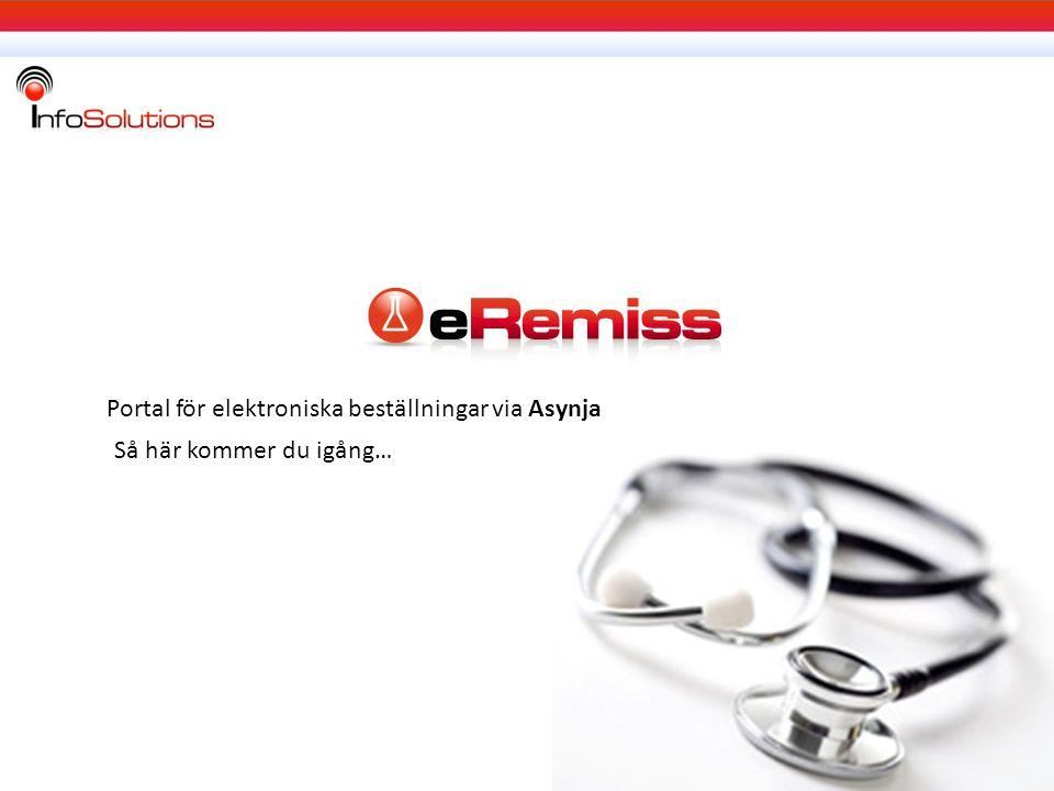 Portal för elektroniska beställningar via Asynja
