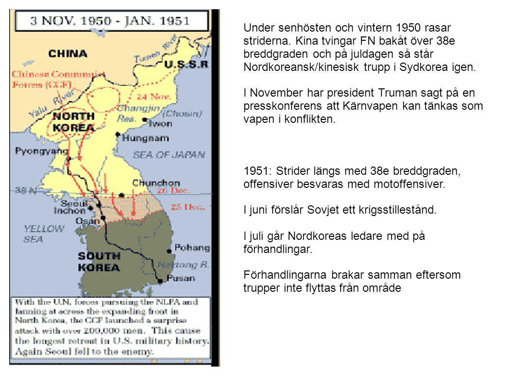 Under senhösten och vintern 1950 rasar striderna