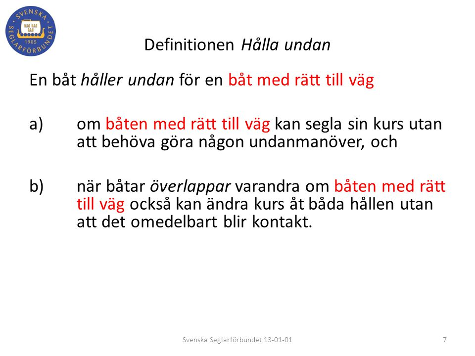 Definitionen Hålla undan