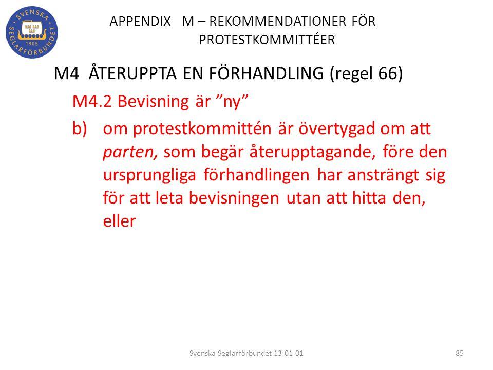 APPENDIX M – REKOMMENDATIONER FÖR PROTESTKOMMITTÉER