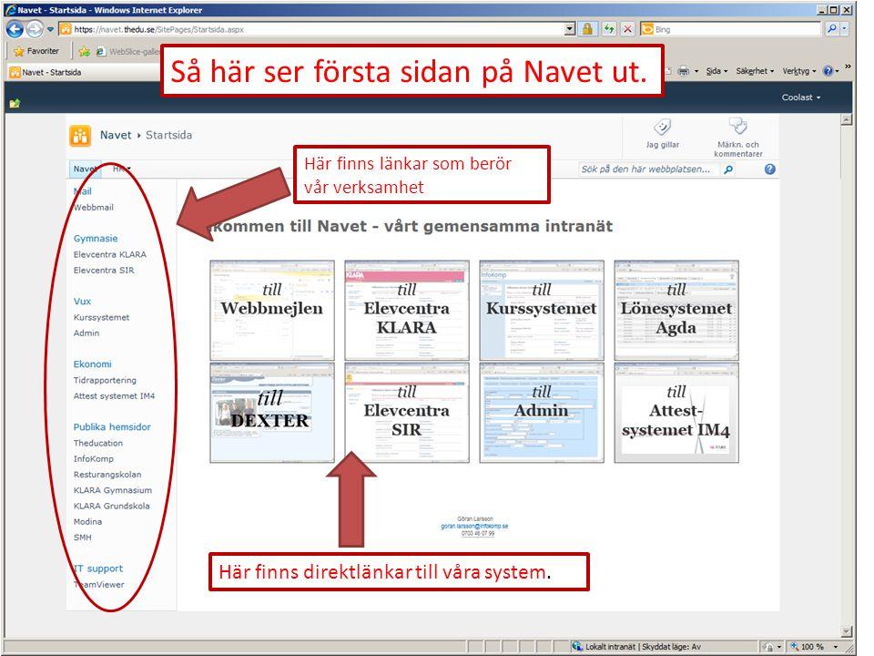 Så här ser första sidan på Navet ut.