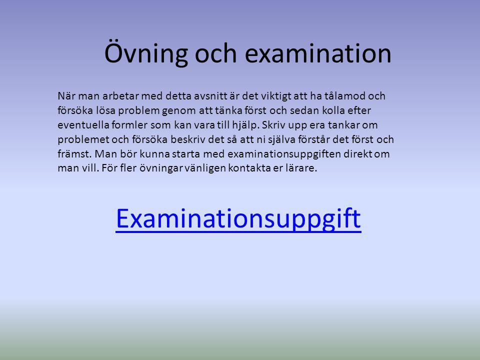 Övning och examination