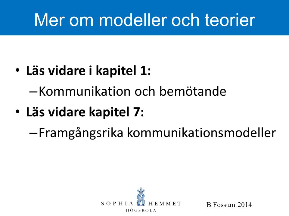 Mer om modeller och teorier