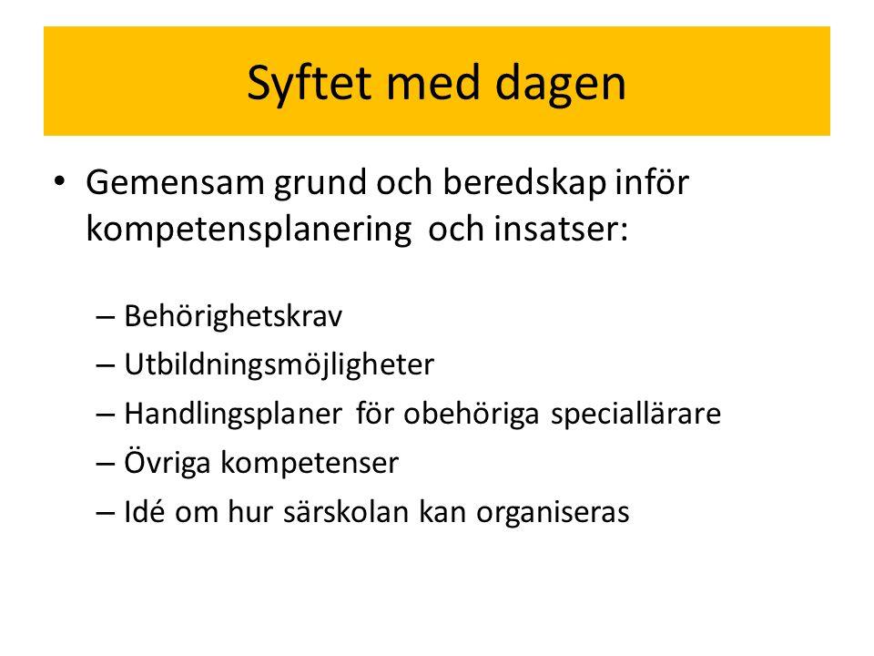 Syftet med dagen Gemensam grund och beredskap inför kompetensplanering och insatser: Behörighetskrav.
