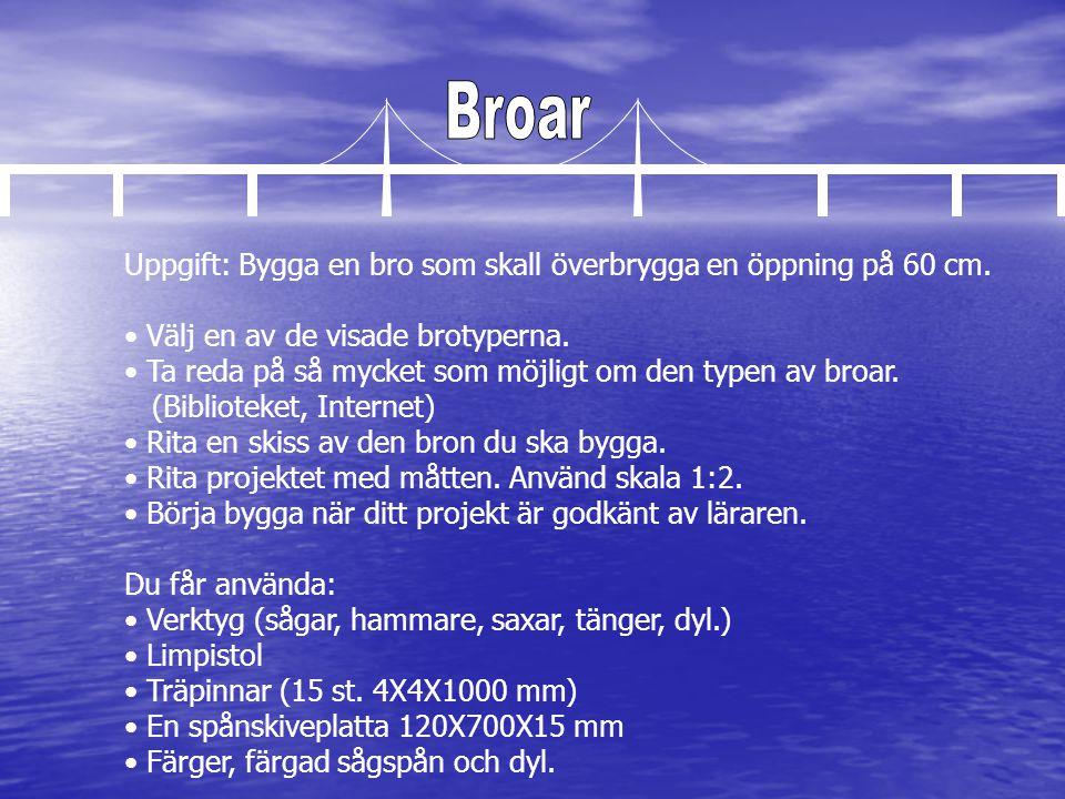 Broar Uppgift: Bygga en bro som skall överbrygga en öppning på 60 cm.