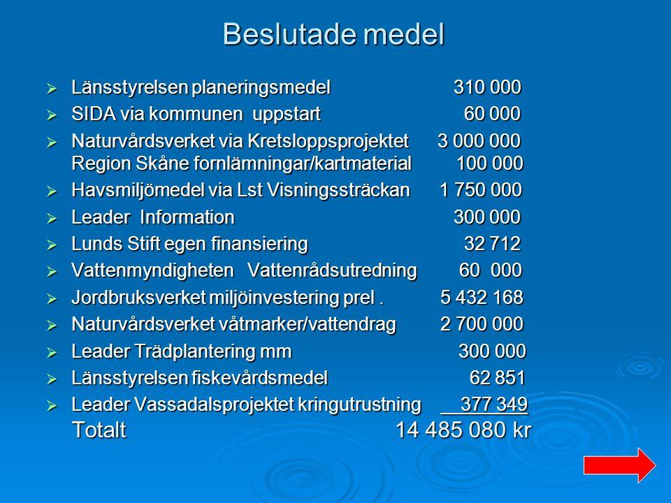 Beslutade medel Länsstyrelsen planeringsmedel 310 000
