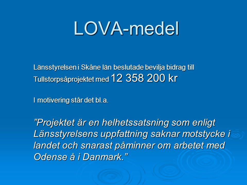 LOVA-medel Länsstyrelsen i Skåne län beslutade bevilja bidrag till Tullstorpsåprojektet med 12 358 200 kr.