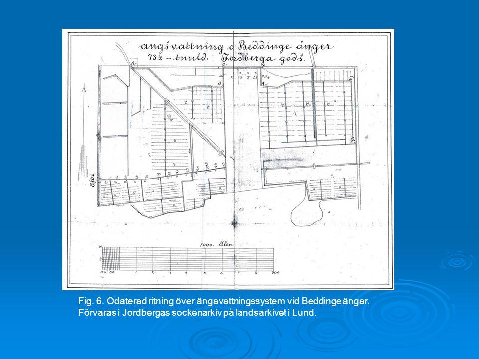 Fig. 6. Odaterad ritning över ängavattningssystem vid Beddinge ängar.