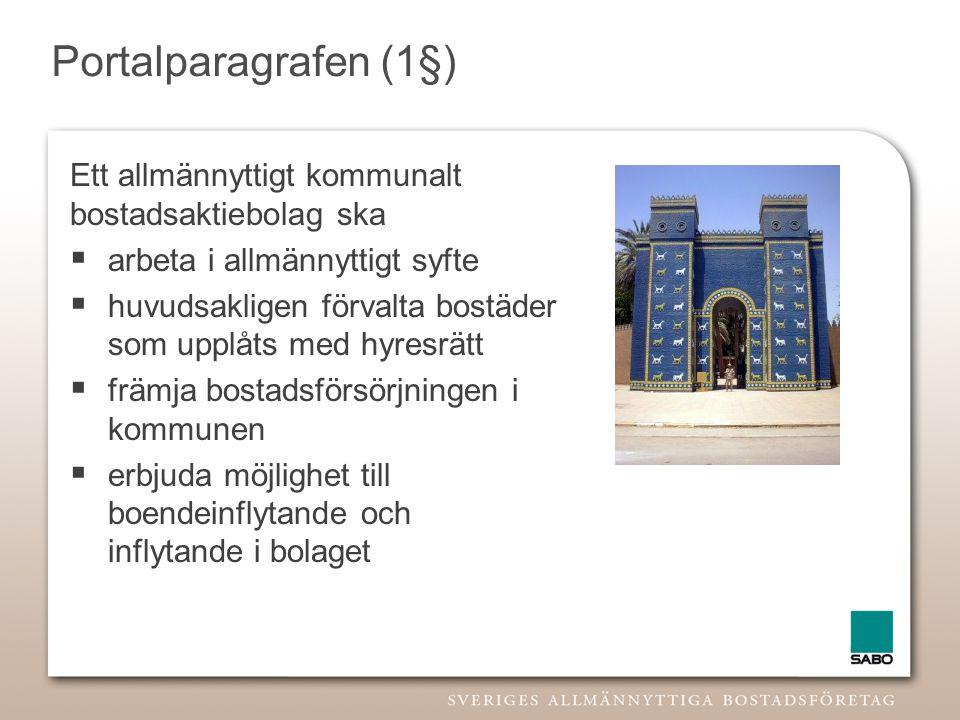 Portalparagrafen (1§) Ett allmännyttigt kommunalt bostadsaktiebolag ska. arbeta i allmännyttigt syfte.