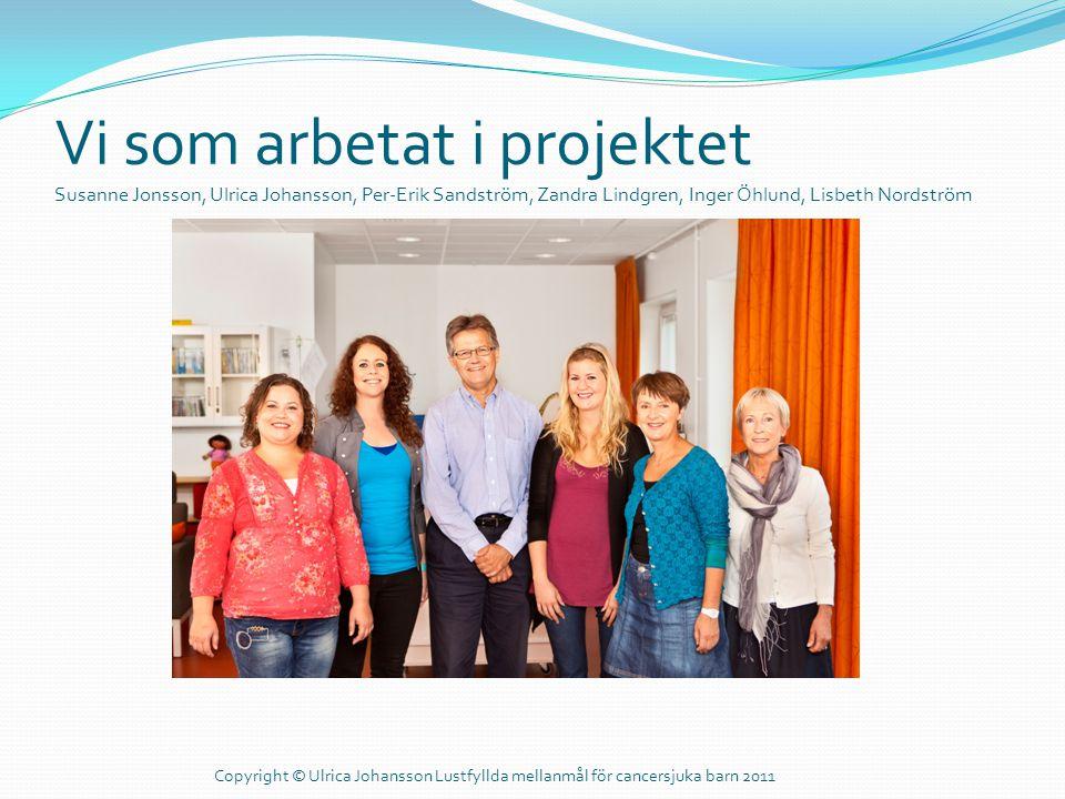 Vi som arbetat i projektet Susanne Jonsson, Ulrica Johansson, Per-Erik Sandström, Zandra Lindgren, Inger Öhlund, Lisbeth Nordström