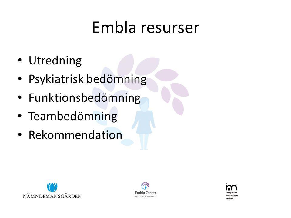 Embla resurser Utredning Psykiatrisk bedömning Funktionsbedömning