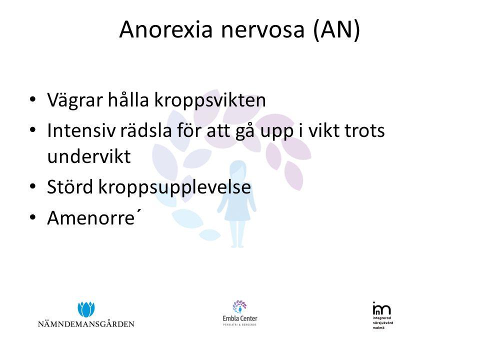 Anorexia nervosa (AN) Vägrar hålla kroppsvikten