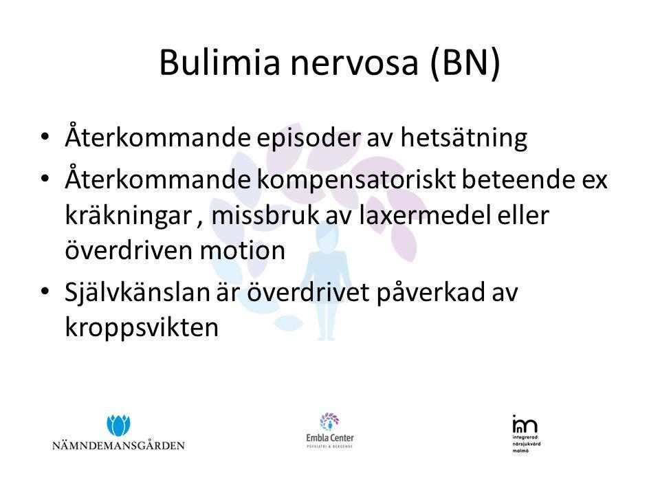 Bulimia nervosa (BN) Återkommande episoder av hetsätning