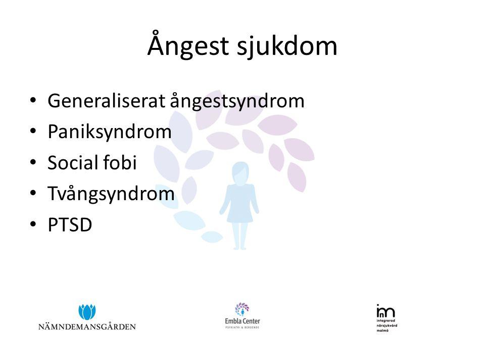 Ångest sjukdom Generaliserat ångestsyndrom Paniksyndrom Social fobi
