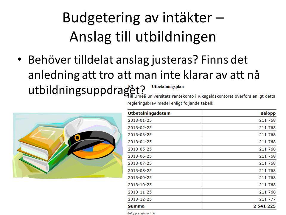 Budgetering av intäkter – Anslag till utbildningen