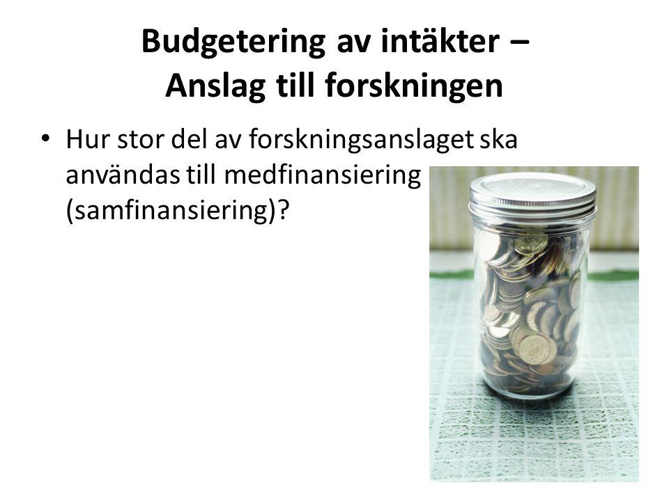 Budgetering av intäkter – Anslag till forskningen