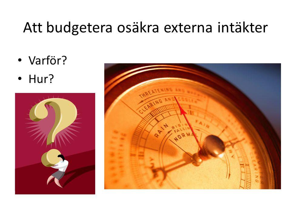 Att budgetera osäkra externa intäkter
