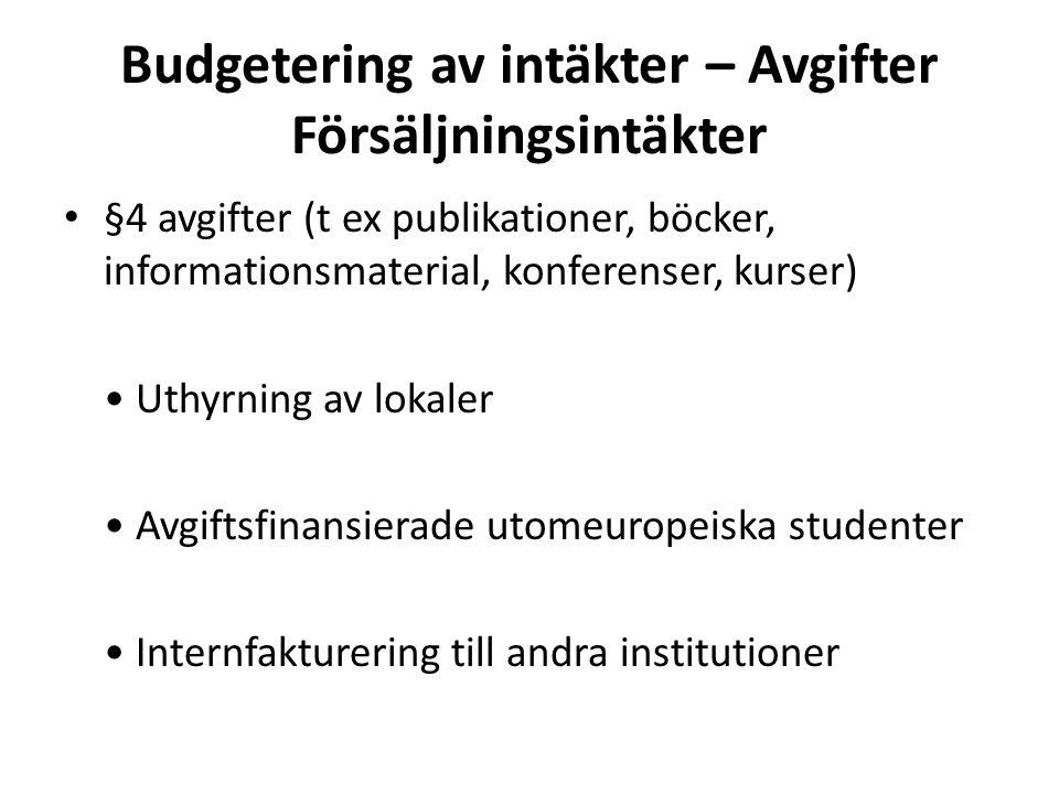 Budgetering av intäkter – Avgifter Försäljningsintäkter