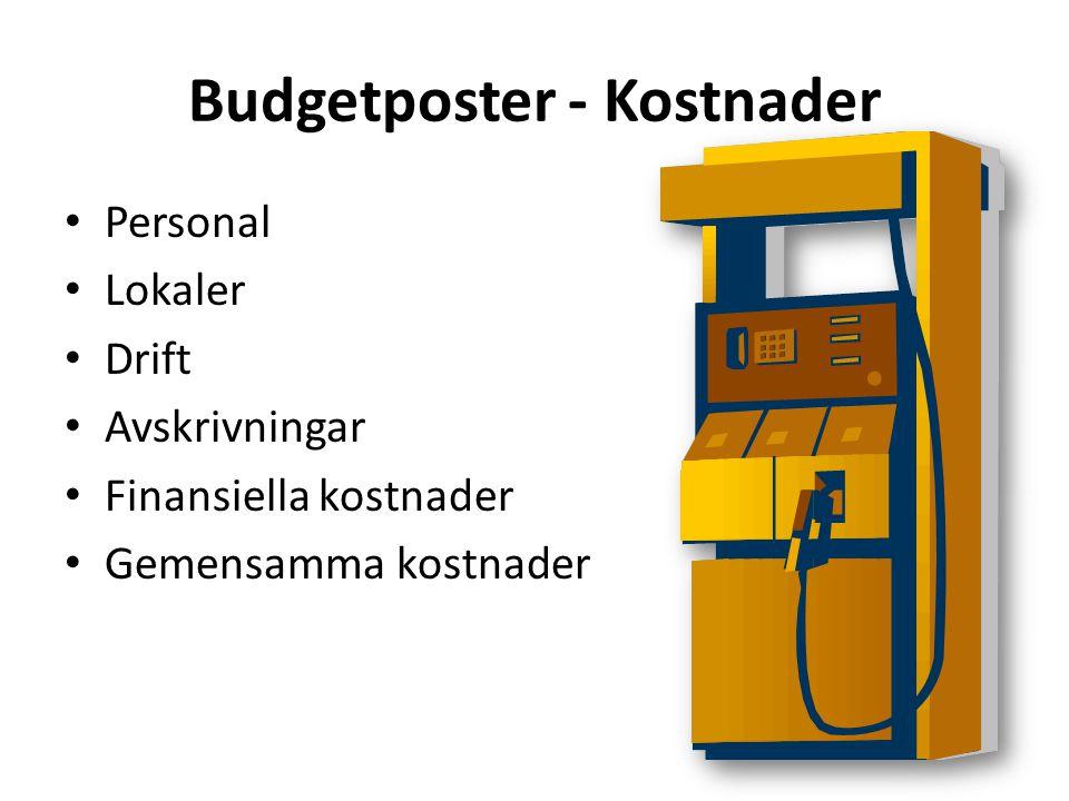 Budgetposter - Kostnader