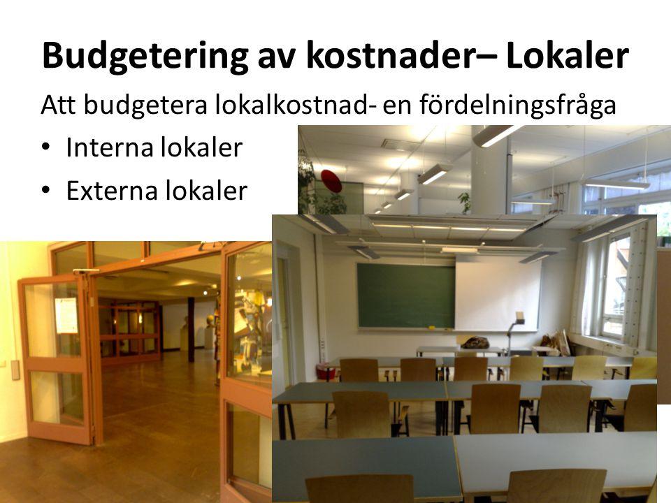 Budgetering av kostnader– Lokaler