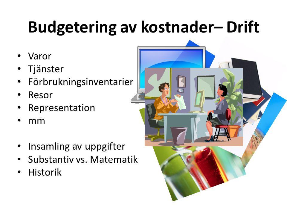 Budgetering av kostnader– Drift