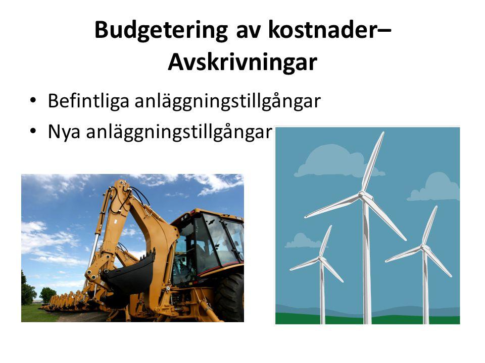 Budgetering av kostnader– Avskrivningar
