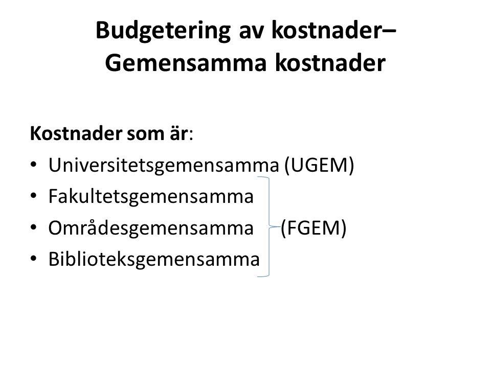 Budgetering av kostnader– Gemensamma kostnader