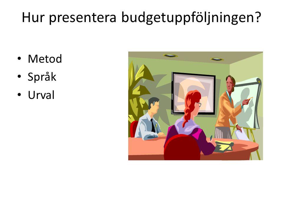 Hur presentera budgetuppföljningen