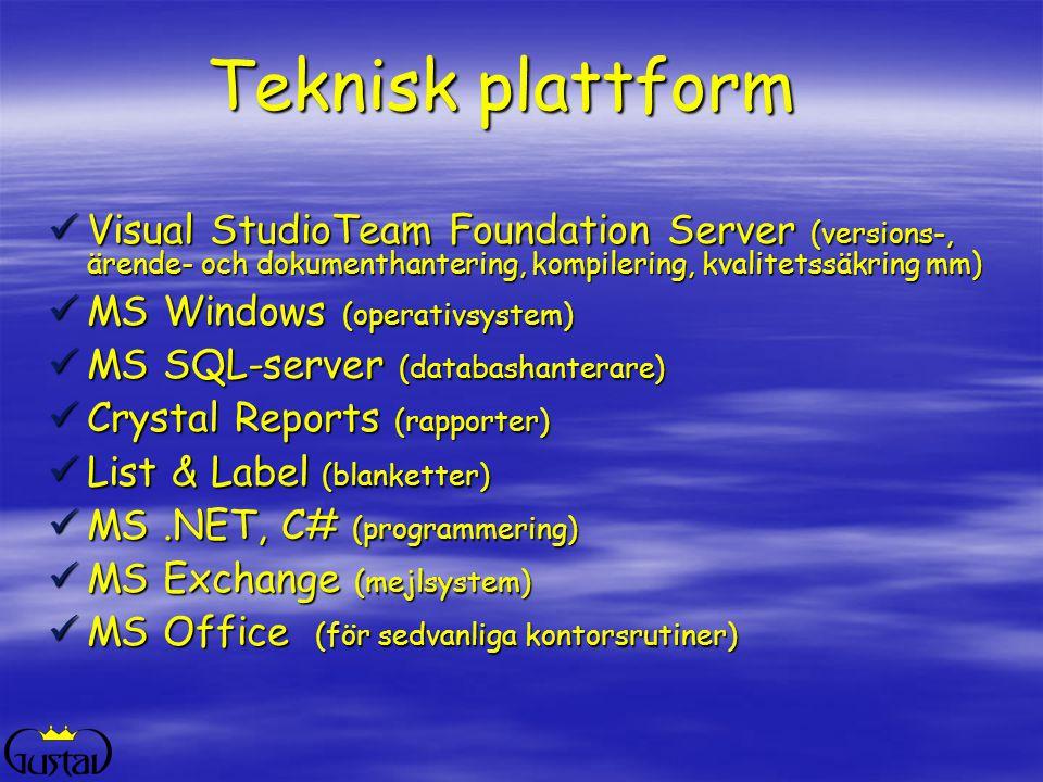 2017-04-02 Teknisk plattform. Visual StudioTeam Foundation Server (versions-, ärende- och dokumenthantering, kompilering, kvalitetssäkring mm)