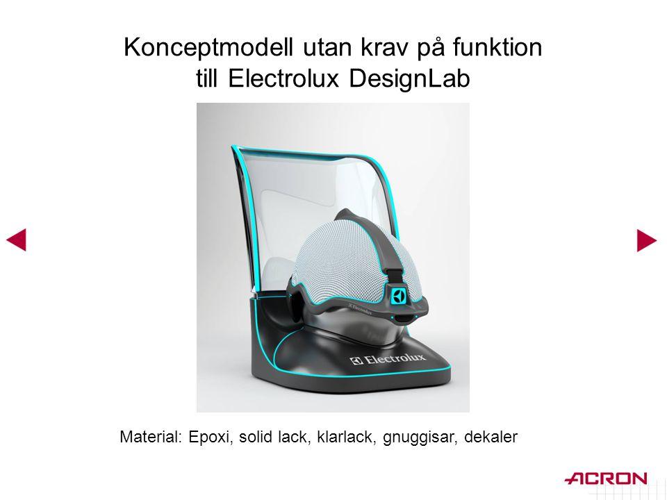 Konceptmodell utan krav på funktion till Electrolux DesignLab