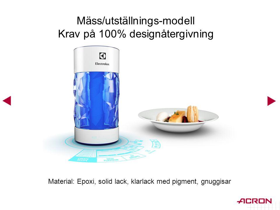 Mäss/utställnings-modell Krav på 100% designåtergivning