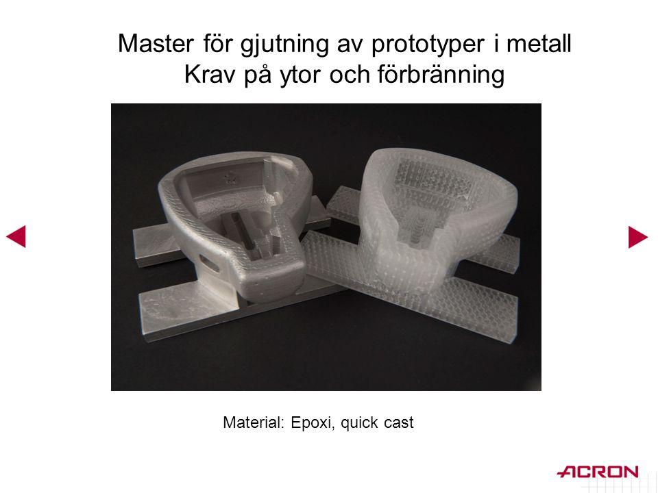 Master för gjutning av prototyper i metall Krav på ytor och förbränning