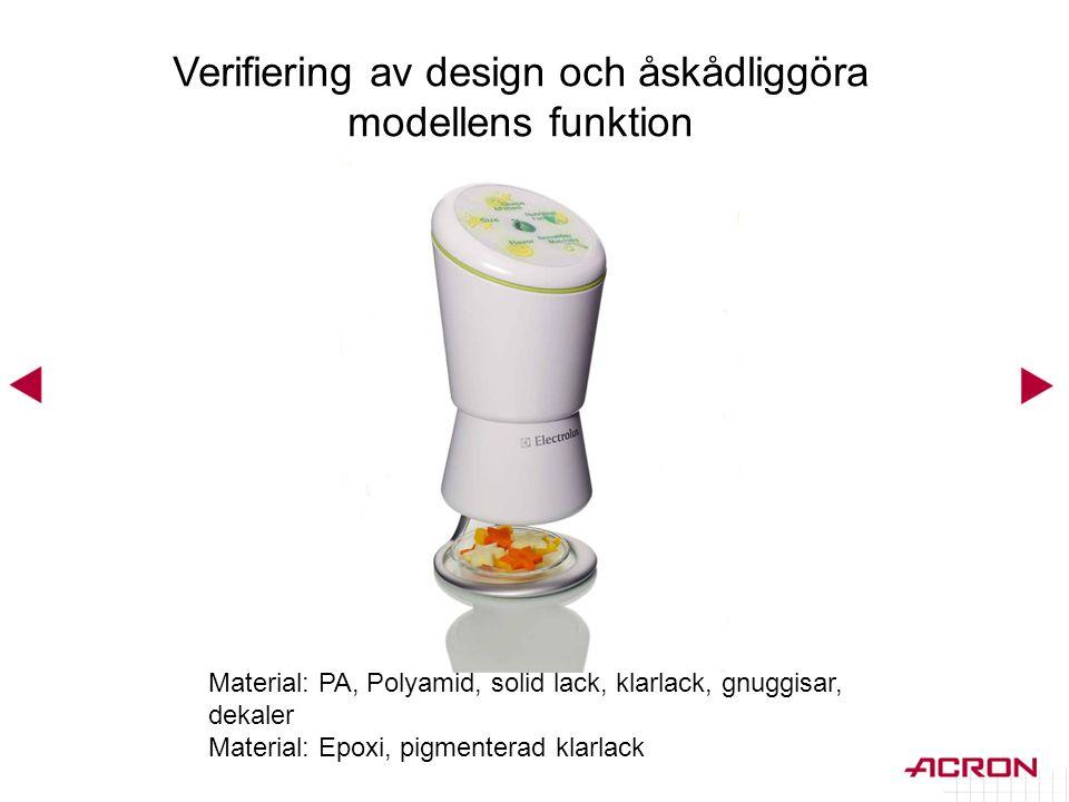 Verifiering av design och åskådliggöra modellens funktion