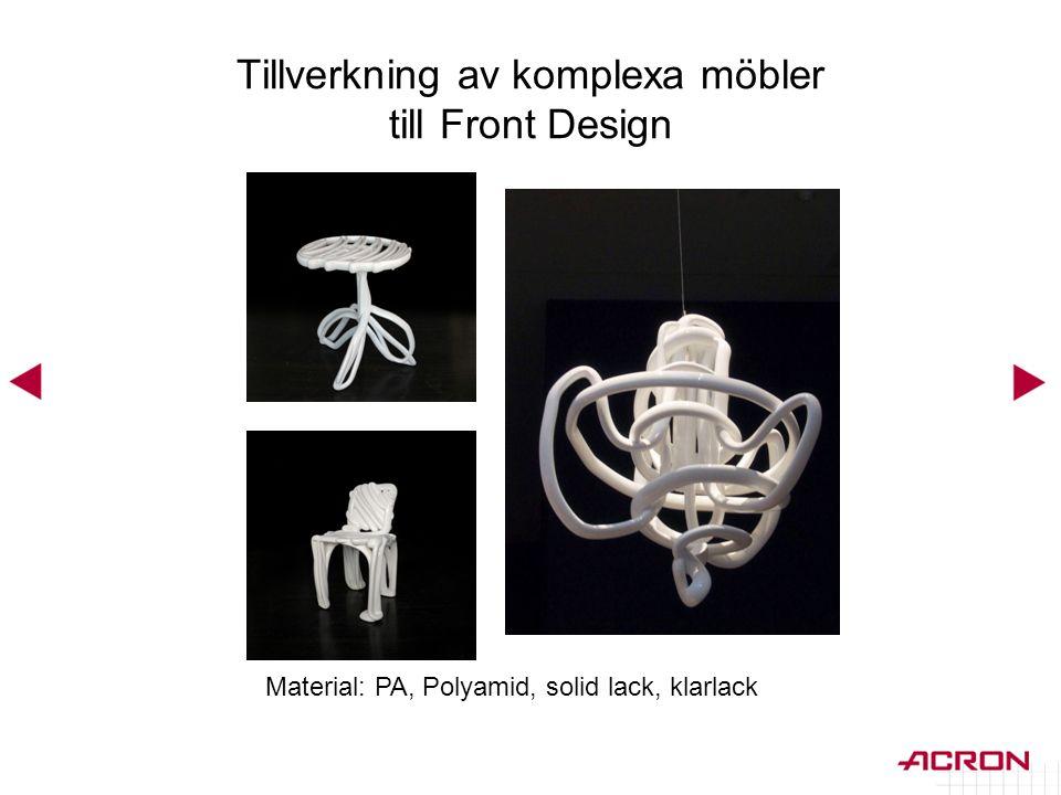 Tillverkning av komplexa möbler till Front Design