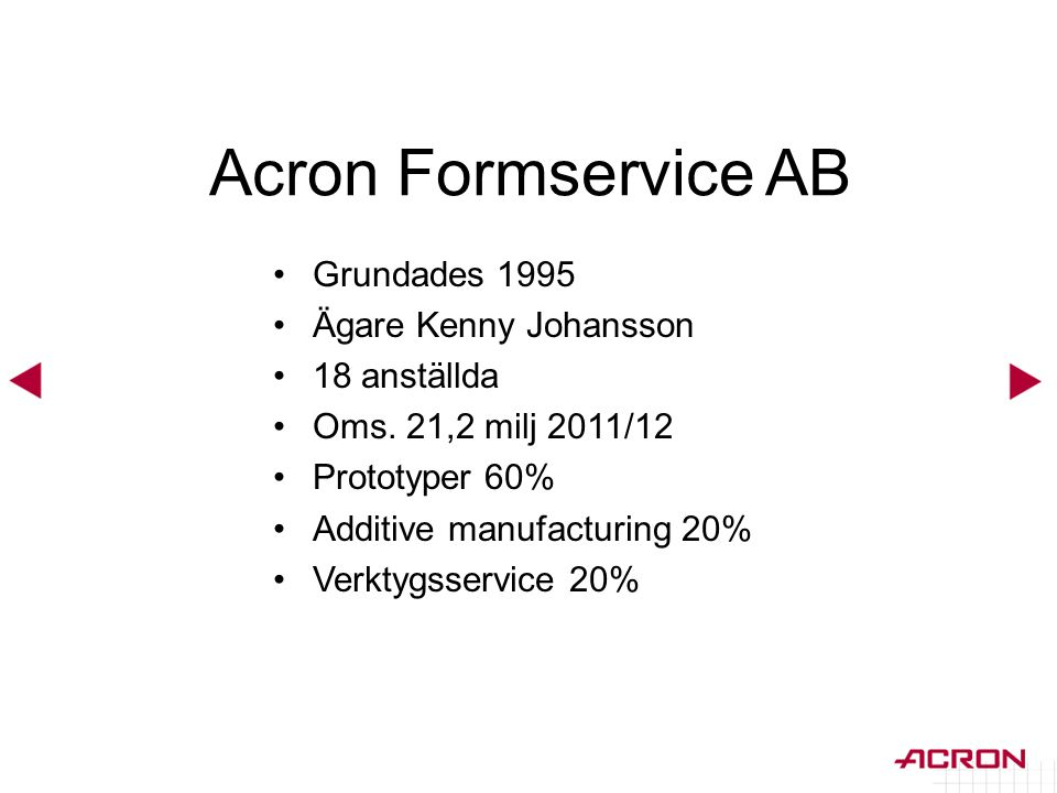 Acron Formservice AB Grundades 1995 Ägare Kenny Johansson 18 anställda