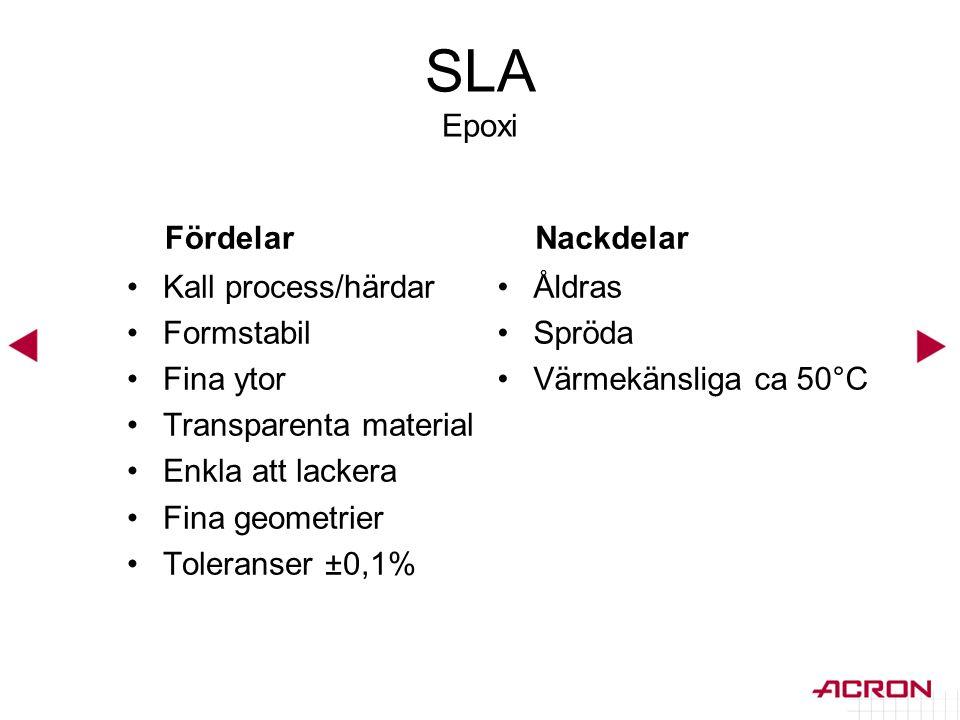 SLA Epoxi Fördelar Nackdelar Kall process/härdar Formstabil Fina ytor