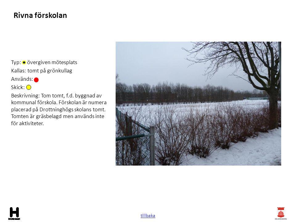Rivna förskolan Typ: övergiven mötesplats Kallas: tomt på grönkullag