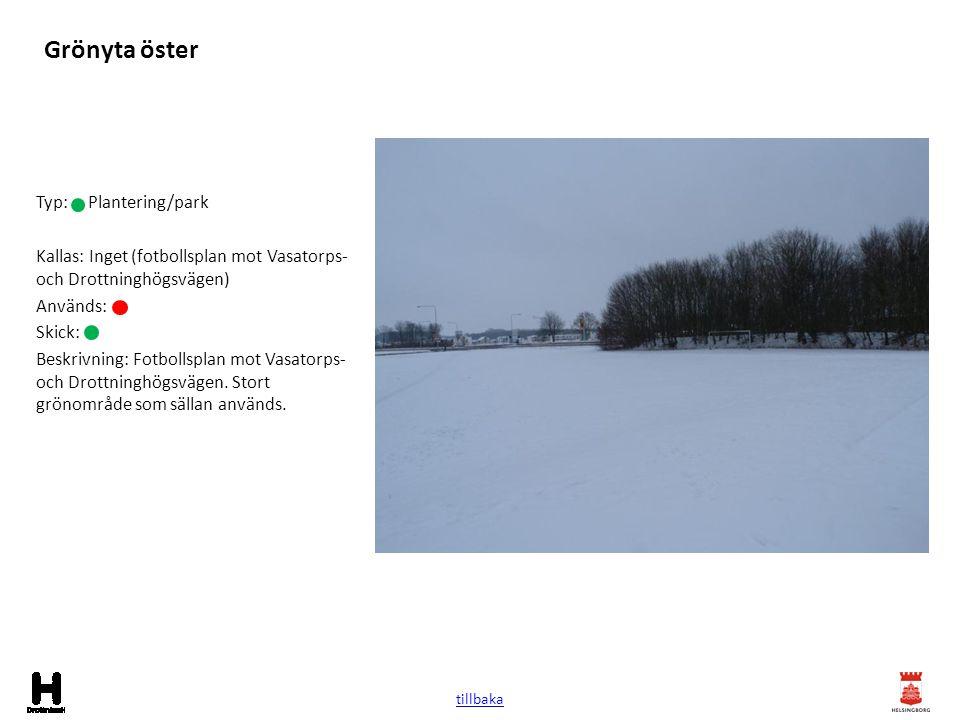 Grönyta öster Typ: Plantering/park