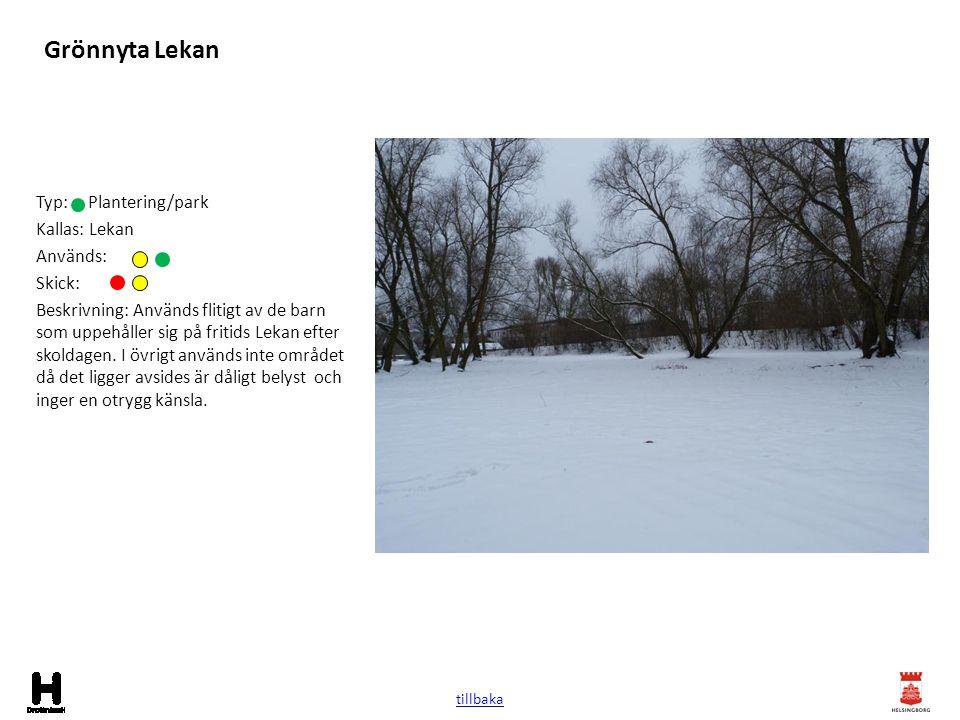 Grönnyta Lekan Typ: Plantering/park Kallas: Lekan Används: Skick: